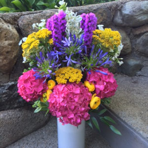 A colorful floral arrangement by Wellesley, MA area Helen Stock Floral Designs